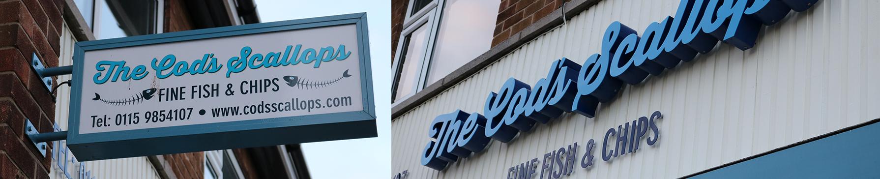 Clockwork Signs Cod Scallop Restaurant Bramcote Signage Pics